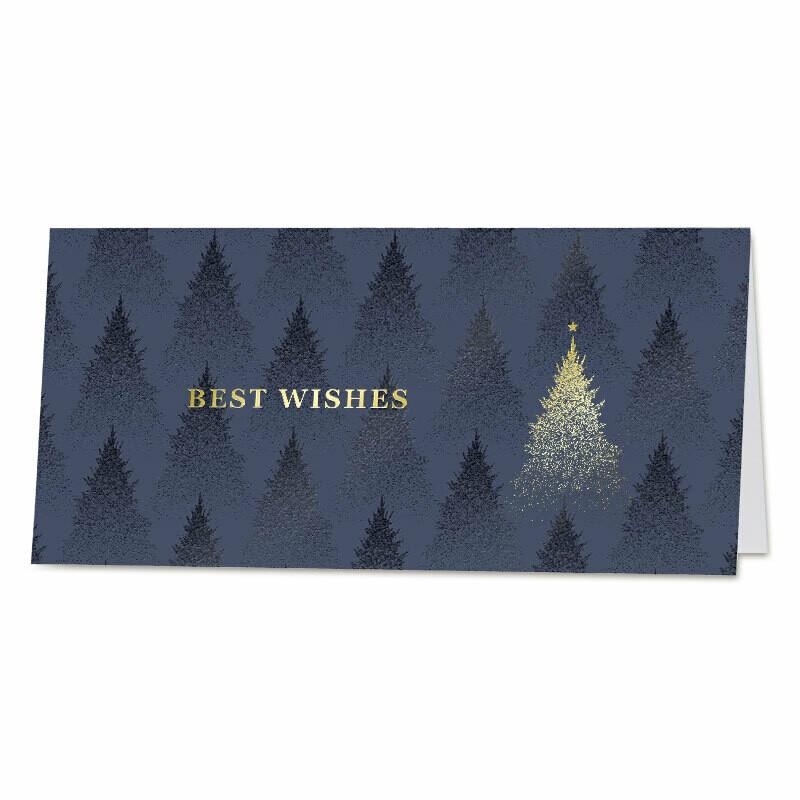 Blauwe wenskaart met gouden kerstboom
