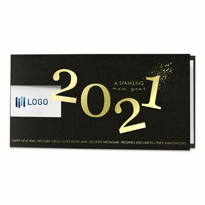 Zwarte wenskaart 2021 in goudfolie met venster voor logo