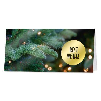 Eindejaarskaart Best Wishes in goudfolie op kerstboom