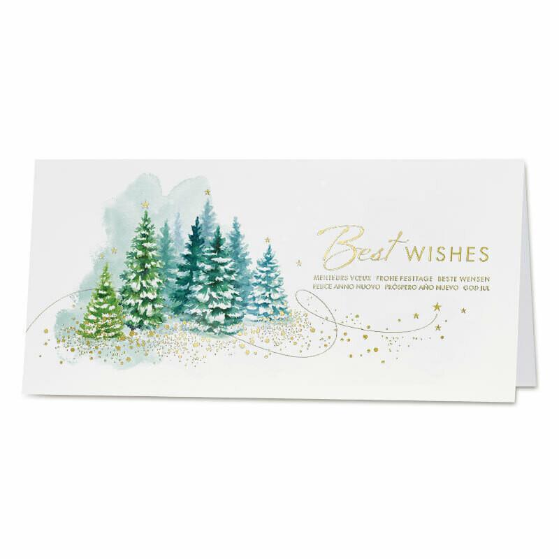 Wenskaart dennebomen in de sneew met goudfolie - Best Wishes