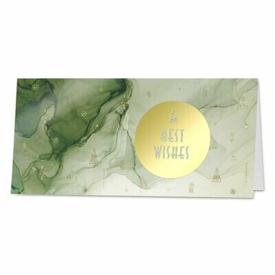 Nieuwjaarskaart met groene sluier en Best Wishes in goudfolie