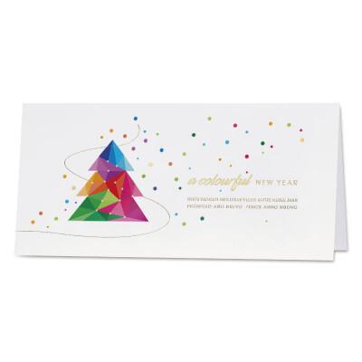 Vrolijke kerstkaart met kleurrijke kerstboom en sneeuwvlokken met goudfolie