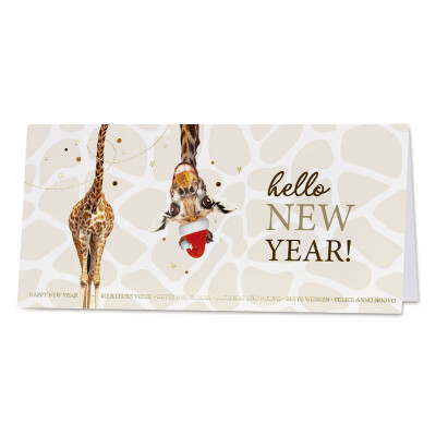 Vrolijke wenskaart met grappige giraf met kerstmuts