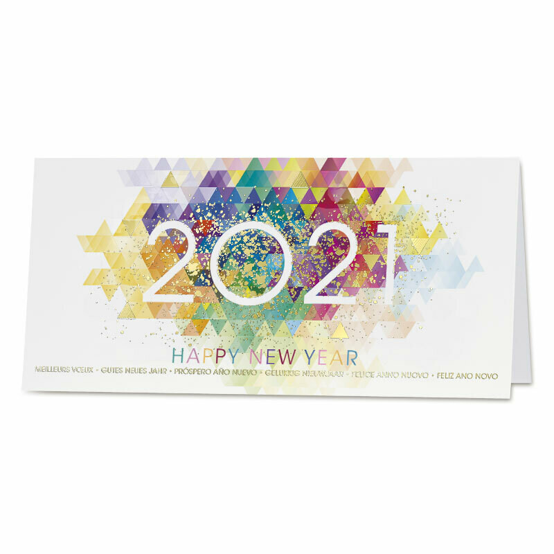 Kleurrijke zakelijke wenskaart 2021 en goudfolie