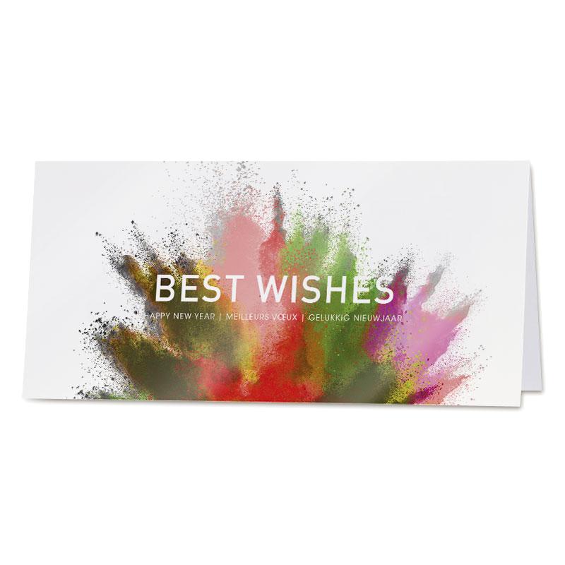 Eindejaarskaart in krachtige kleuren Best Wishes
