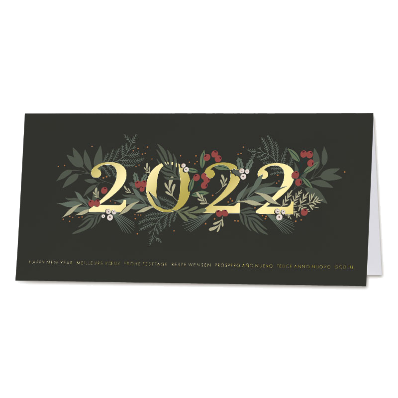 Zwarte kerstkaart 2022 in hulst met goudfolie