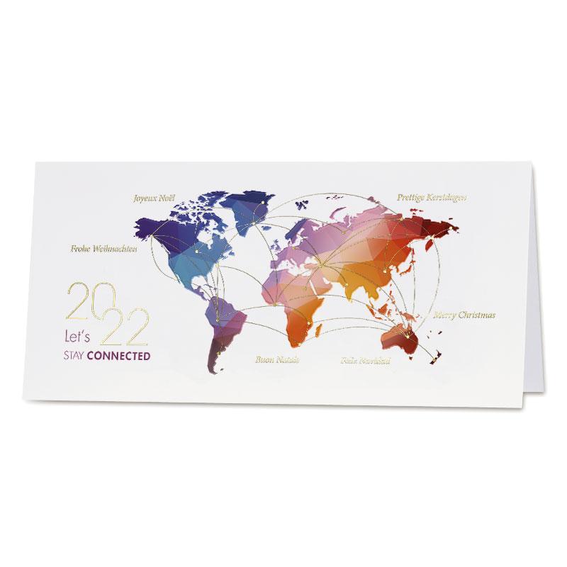 Eindejaarskaart met kleurrijke wereldkaart en wensen in goudfolie