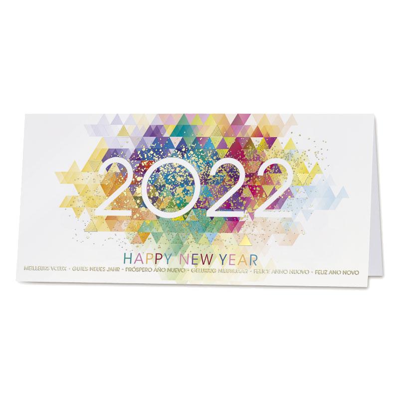 Kleurrijke nieuwjaarskaart 2022 met goudfolie