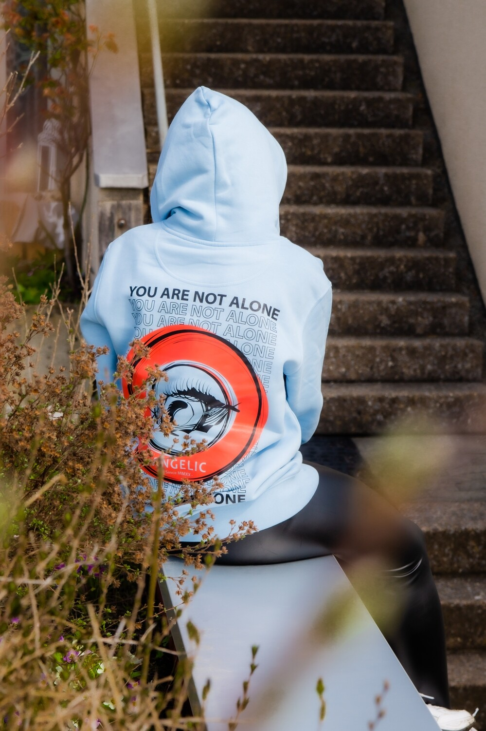ANGELIC Hoodie blau, YOU ARE NOT ALONE - UNISEX.