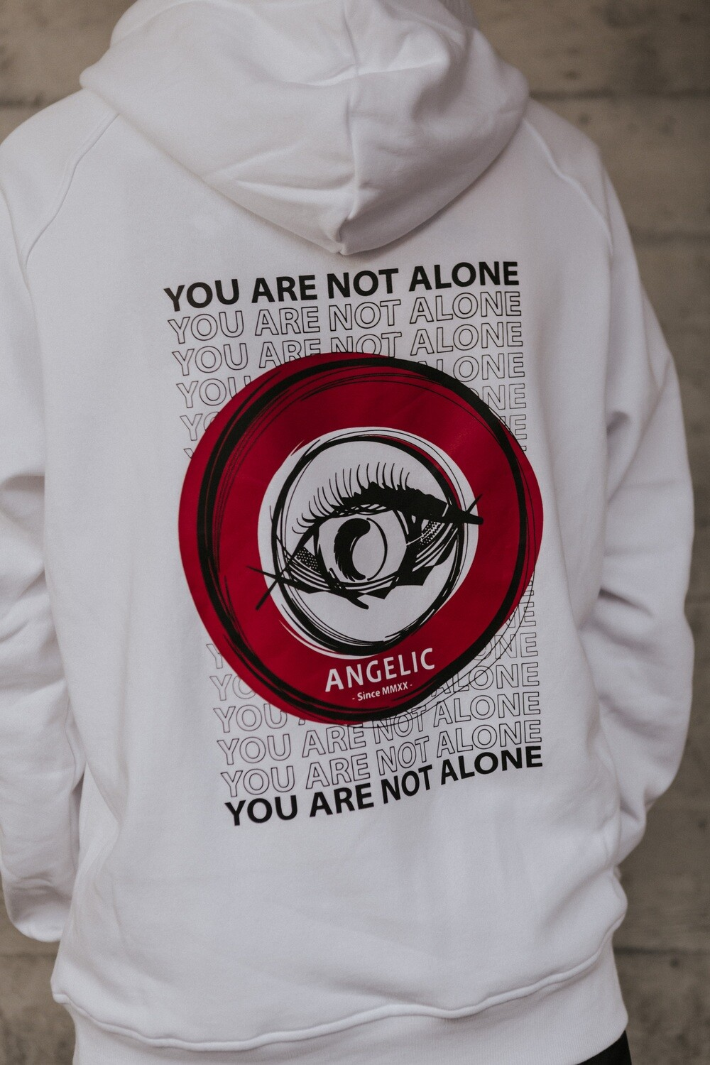 ANGELIC Hoodie weiss, YOU ARE NOT ALONE - UNISEX.