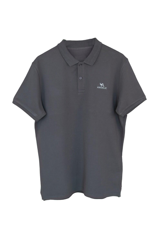 ANGELIC Polo-Shirt MEN dunkelgrau, gesticktes Logo.