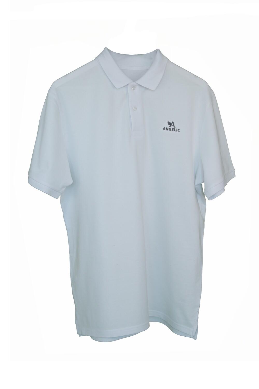ANGELIC Polo-Shirt MEN weiss, gesticktes Logo.