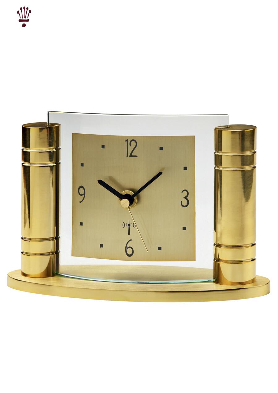 Billib QC Greek Radio Time Signal Mantel  Clock in Gold
