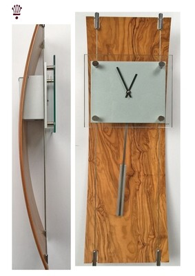 Billib K Clock Contemporary Wall Clock in Olive and Walnut