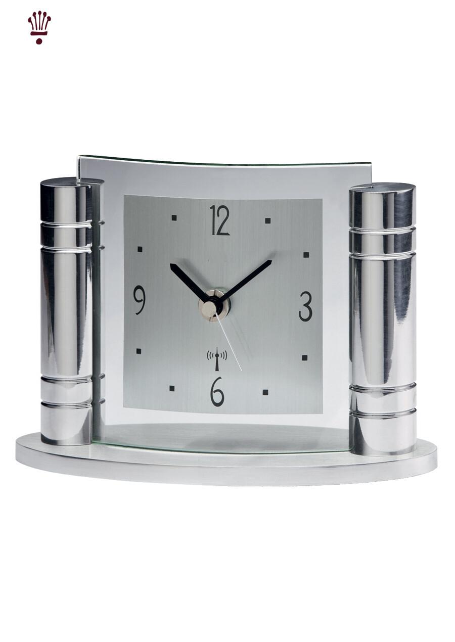 Billib QC Greek Radio Time Signal Mantel  Clock in Chrome