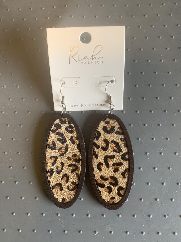 Long Wooden Cheetah Earrings
