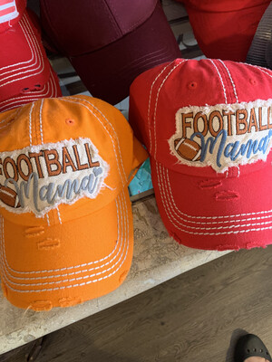 Red Football mom hat