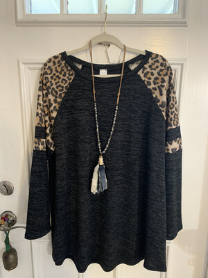 Grey W/Cheetah Sleeves Plus Size