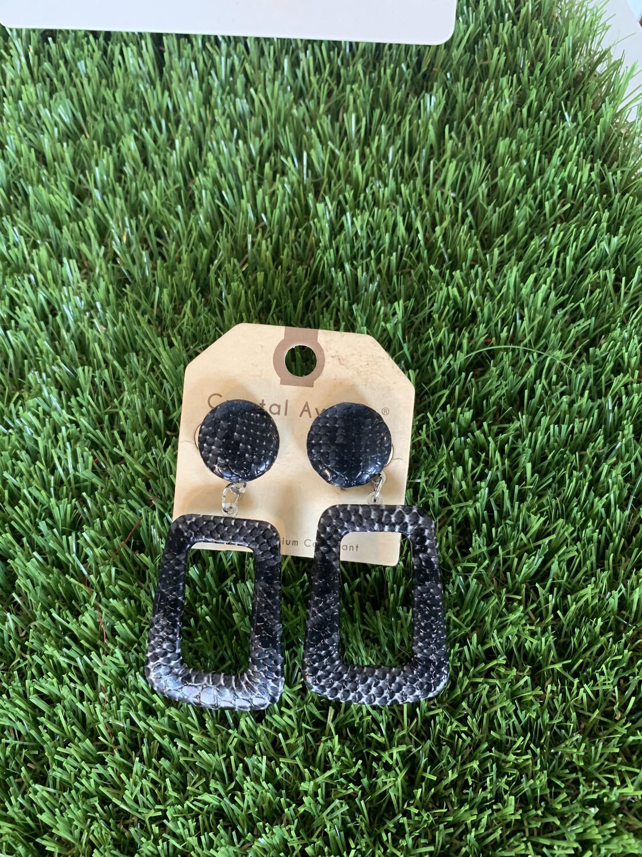Black Dangle Square Earrings