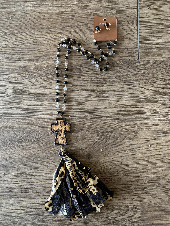 Long Cross Cheetah Necklace W/black Earrings