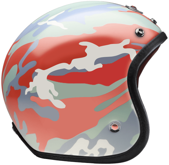 OPEN FACE HELMET CAMOUFLAGE RED