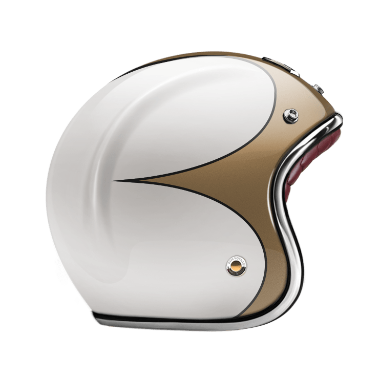 GUANG® - OPEN FACE HELMET SPEEDRUN GOLD & WHITE