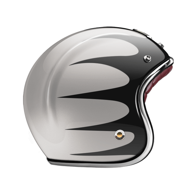 GUANG® - OPEN FACE HELMET SPEEDRUN BLACK & SILVER
