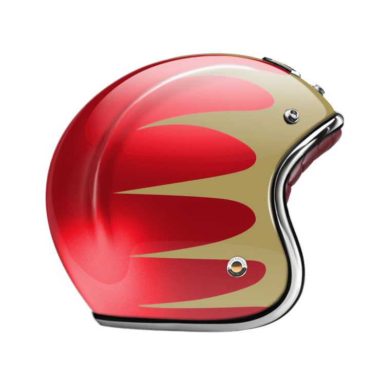 GUANG® - OPEN FACE HELMET SPEEDRUN GOLD & RUBY