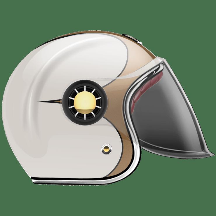 GUANG® - JET HELMET SPEEDRUN GOLD & WHITE