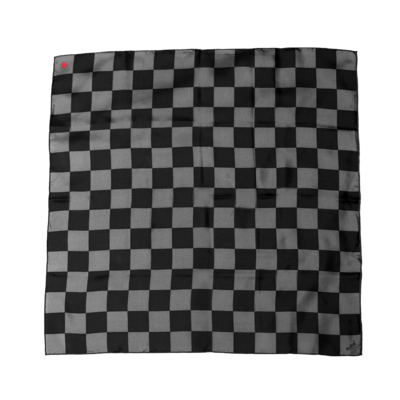 BANDIT SILK SCARF DAMIER BLACK & GREY