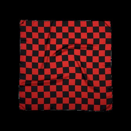 BANDIT SILK SCARF DAMIER BLACK & RED