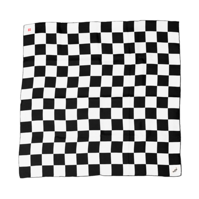 BANDIT SILK SCARF DAMIER BLACK & WHITE