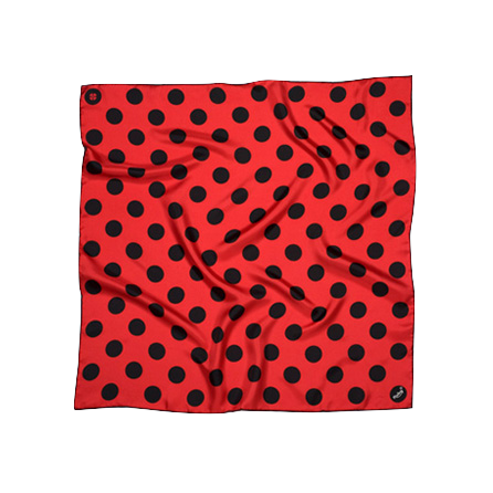BANDIT SILK SCARF POLKA RED & BLACK