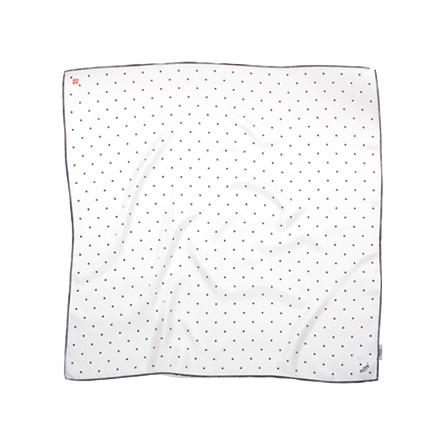 BANDIT SILK SCARF DOT WHITE & BLACK