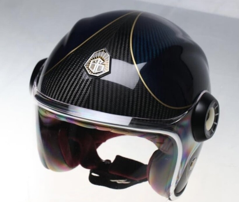 GUANG® - JET HELMET BLUE AND BLACK CARBON