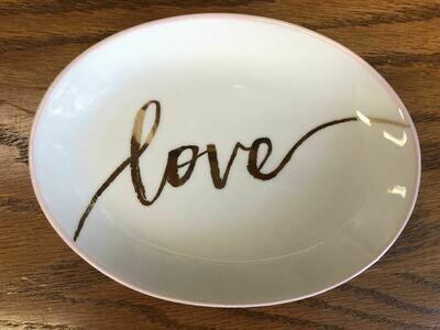 love porcelain ring dish