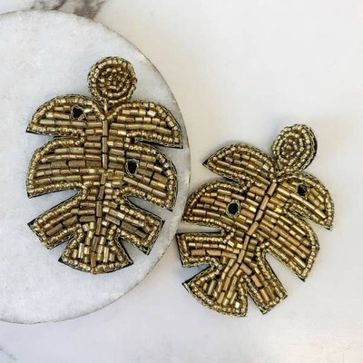 Gold Metallic Palm Leaf Earring
