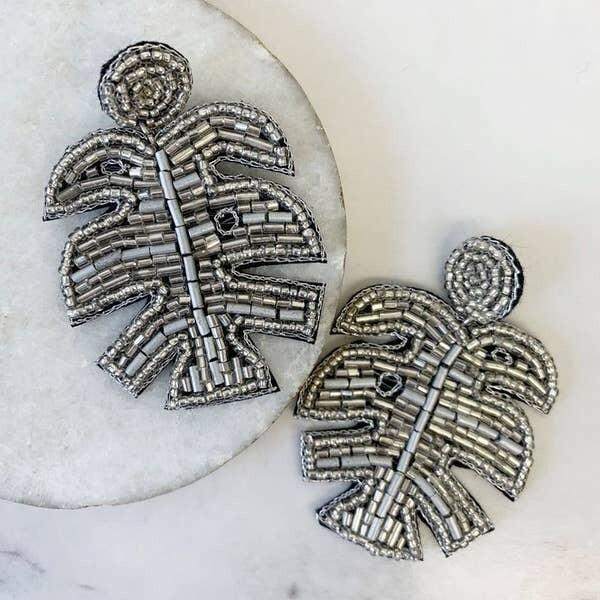 Silver Metallic Palm Leaf Earring