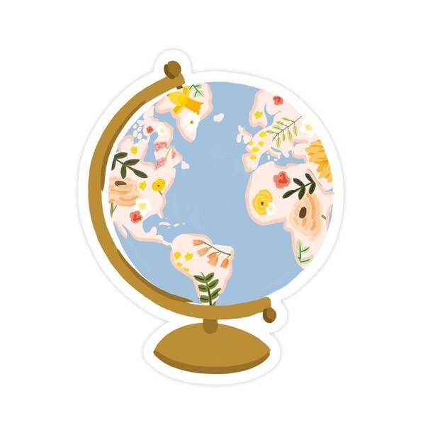 Floral Globe Vinyl Sticker