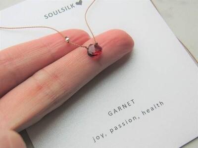 Garnet Gemstone with Gold Filled Beads on Silk
