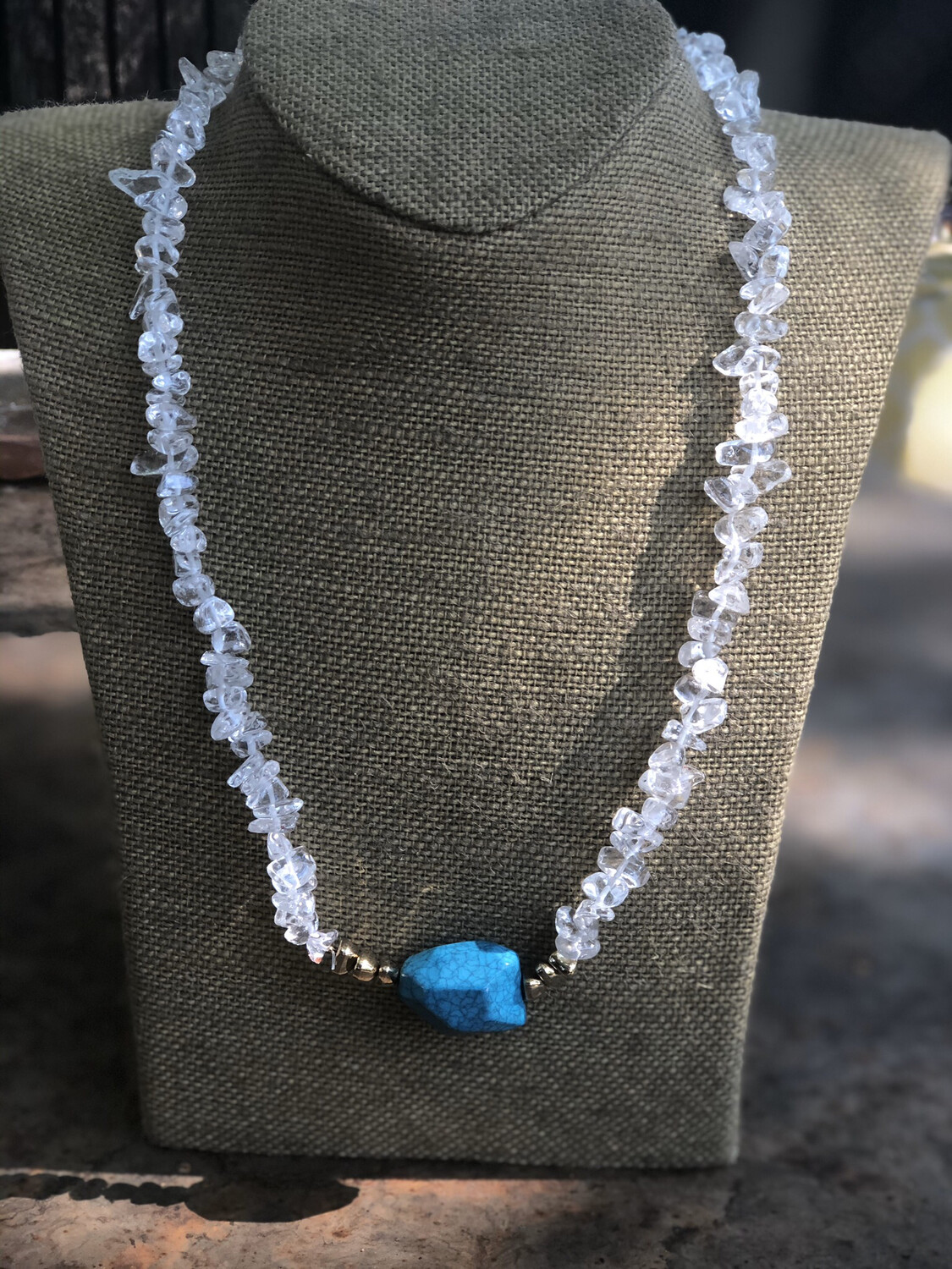 Crystal beads with Turquoise stone pendant