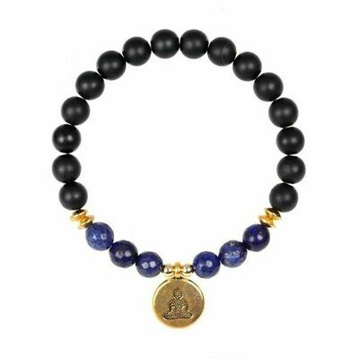Black Onyx + Faceted Lapis Bead Stretch