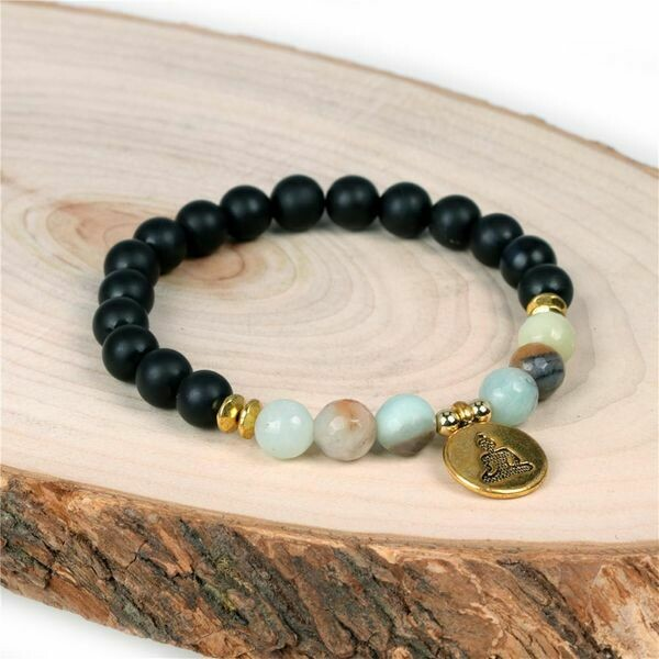 Black Onyx + Faceted Amazonite Bead Stretch