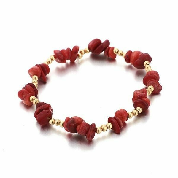 Red Coral Stretch Bracelet