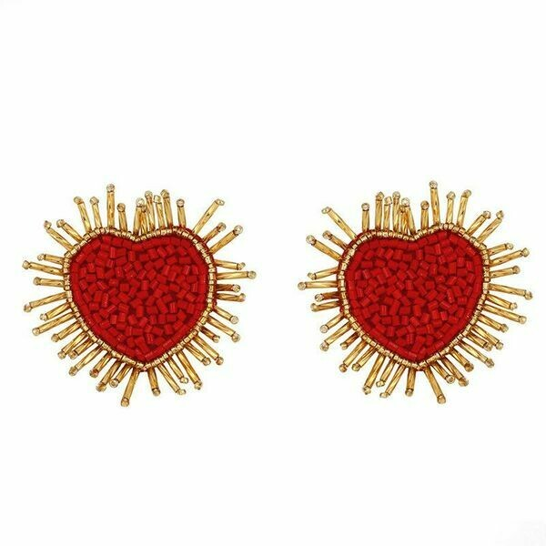 Beaded Heart Earrings