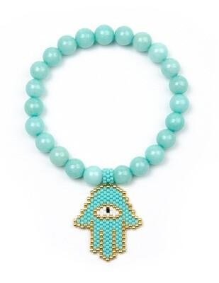 Light Blue Stretch Bracelet with Rice Bead Palm