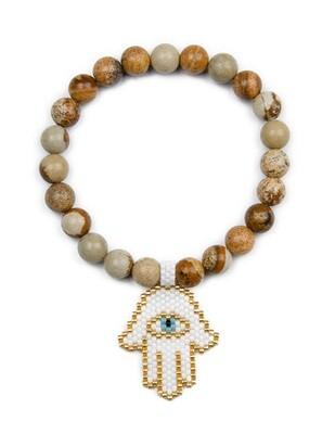 Light Brown Stretch Bracelet with Rice Bead Palm