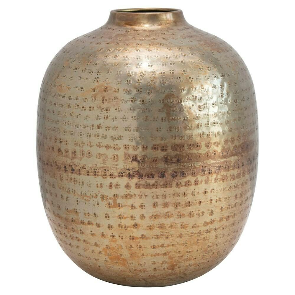 Large Hammered Metal Vase Antique Brass