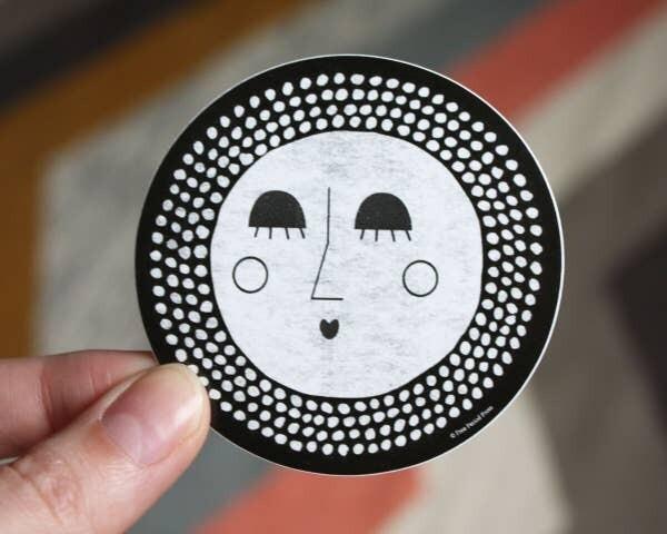 B&W Face Vinyl Sticker