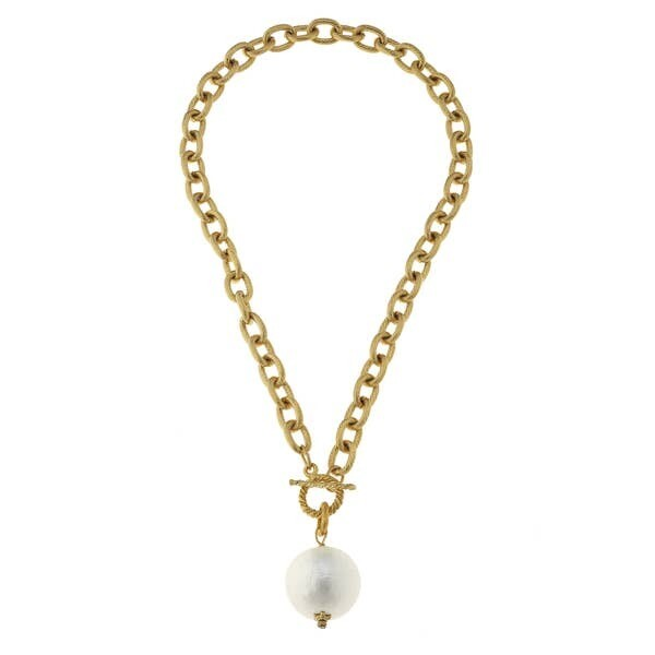 Cotton Spun Pearl Bead On Gold Chain